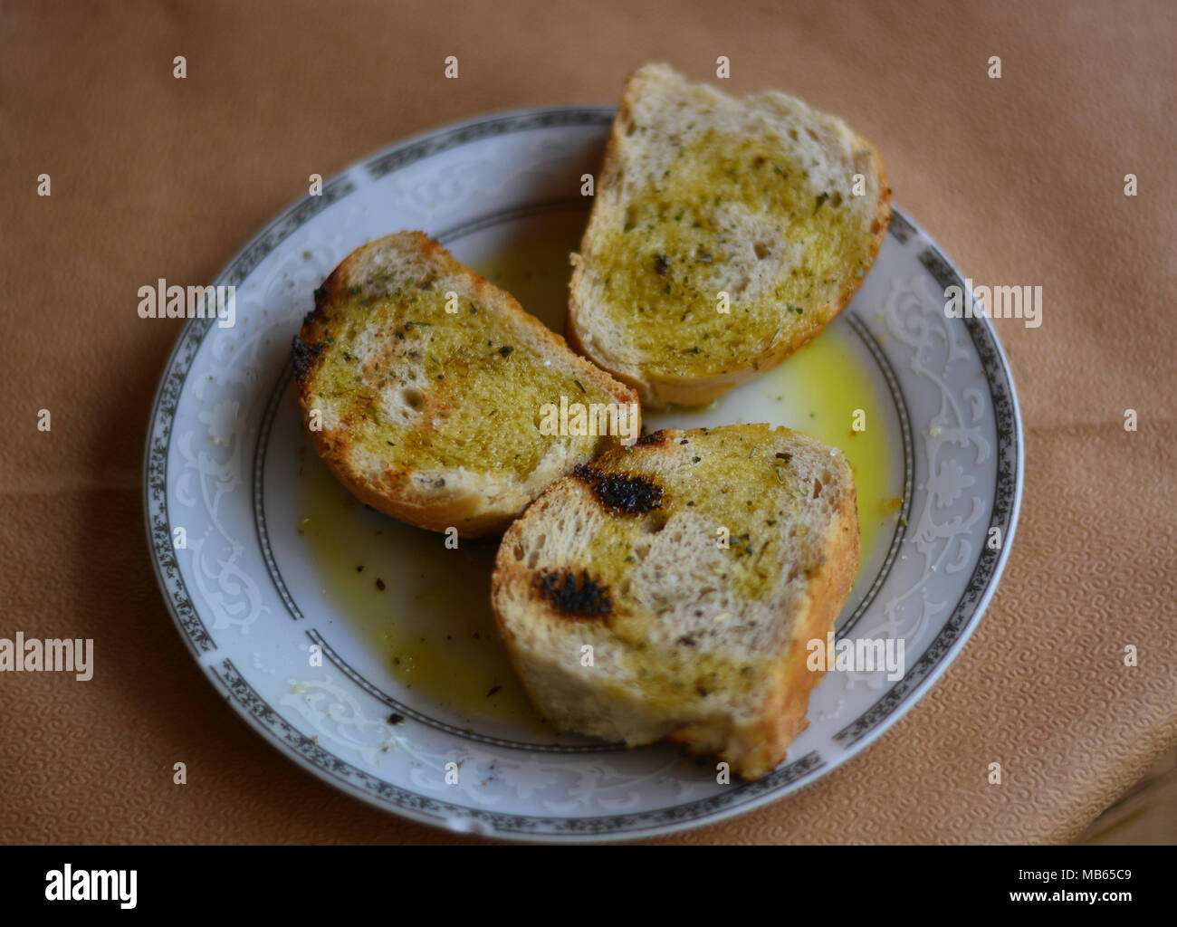 The typical bruschetta with bread and greek olive oil Stock Photo