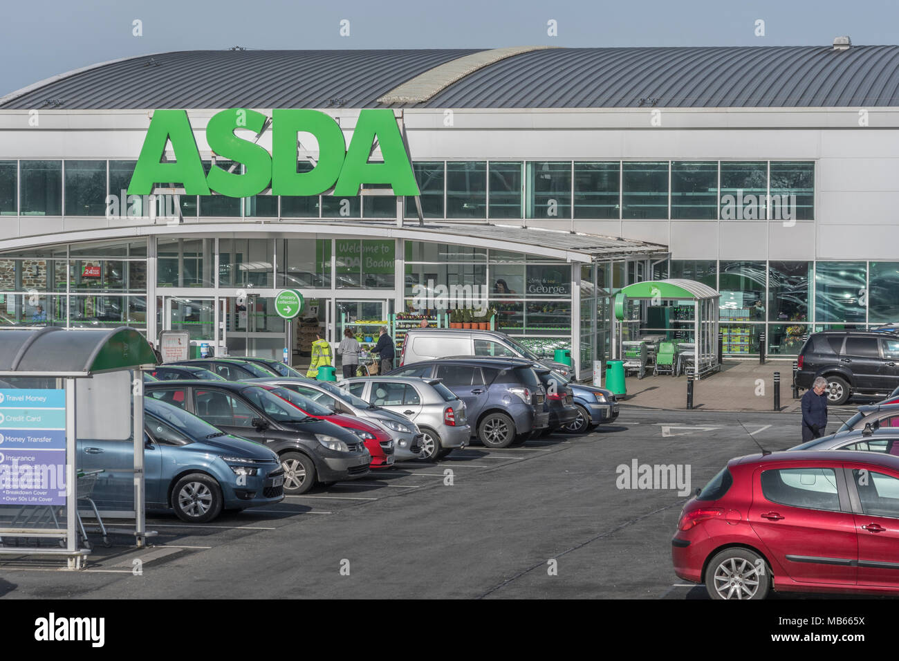 Death of the High Street metaphor / concept - Exterior of the ASDA Bodmin store, Cornwall. Out of town shopping concept. Stock Photo