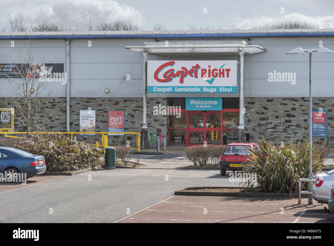 CarpetRight is possibly facing store closures in UK - exterior of Bodmin Retail Park CarpetRight store before potential closures. Out of town shopping Stock Photo