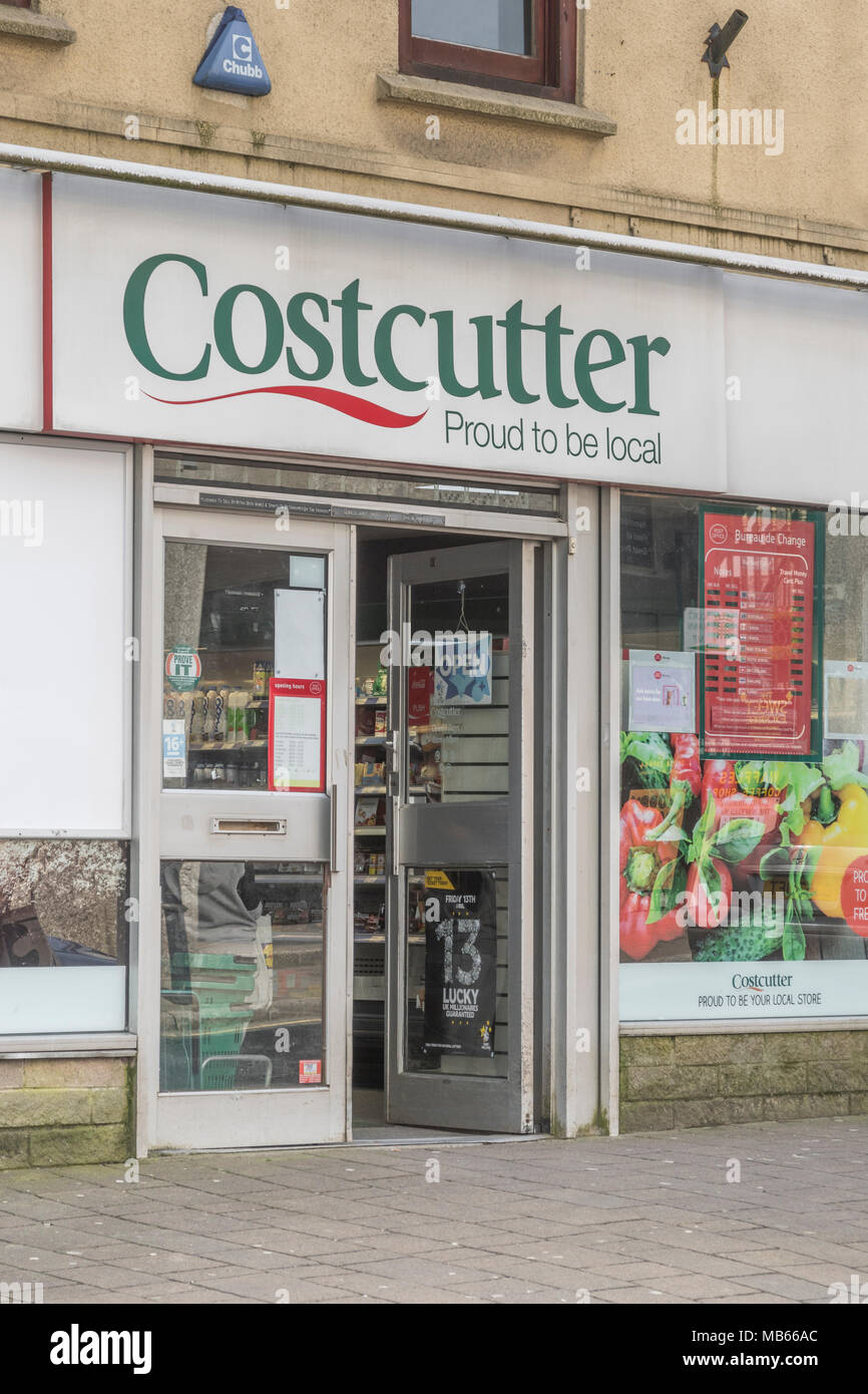 Death of the High Street metaphor / concept - Exterior of Costcutter convenience shop in high street of Bodmin, Cornwall. Stock Photo