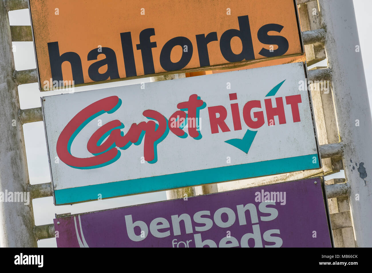CarpetRight is possibly facing closure of stores in the UK - exterior of Bodmin Retail Park CarpetRight store before potential closures. Stock Photo