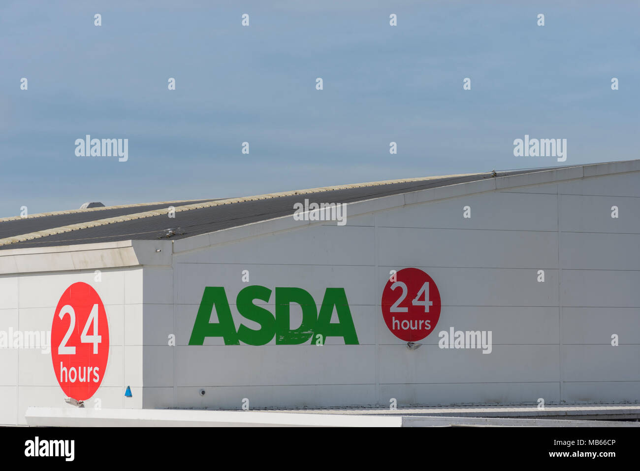 Death of the High Street metaphor / concept - Exterior of 24-hour ASDA store in Bodmin, Cornwall. Out of town shopping concept. Stock Photo