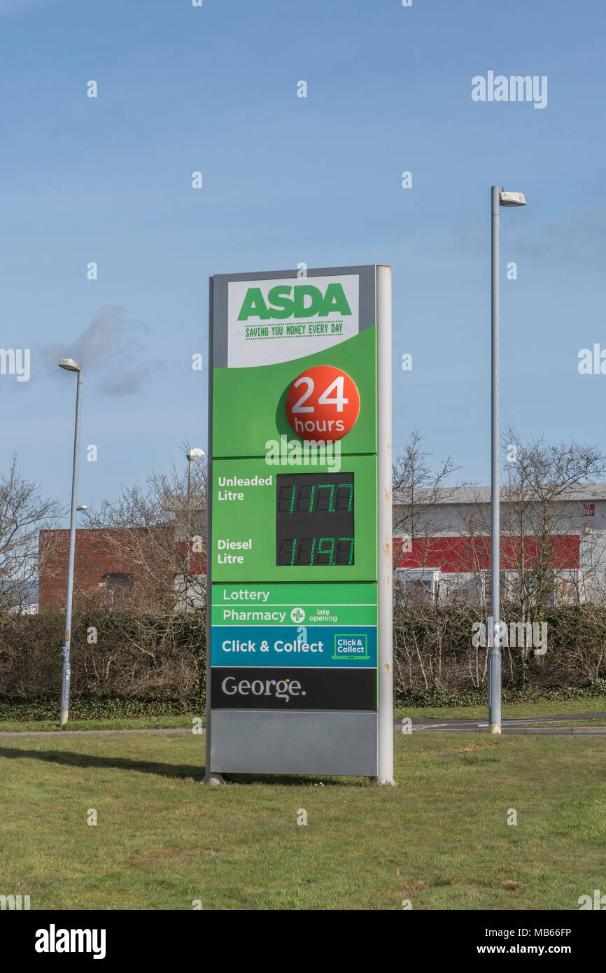 Death of the High Street metaphor / concept - exterior of the ASDA Bodmin 24-hour store, Cornwall. Out of town shopping concept. Stock Photo