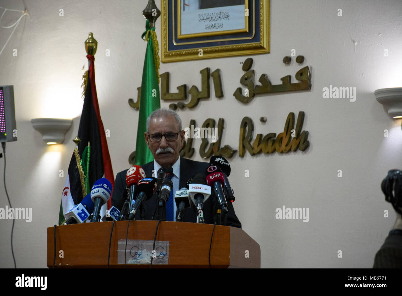 President of the Saharawi Arab Democratic Republic (SADR) Brahim Ghali at the Conference 'Peoples' Right to Resistance: the Case of Sahrawi People' - Stock Image