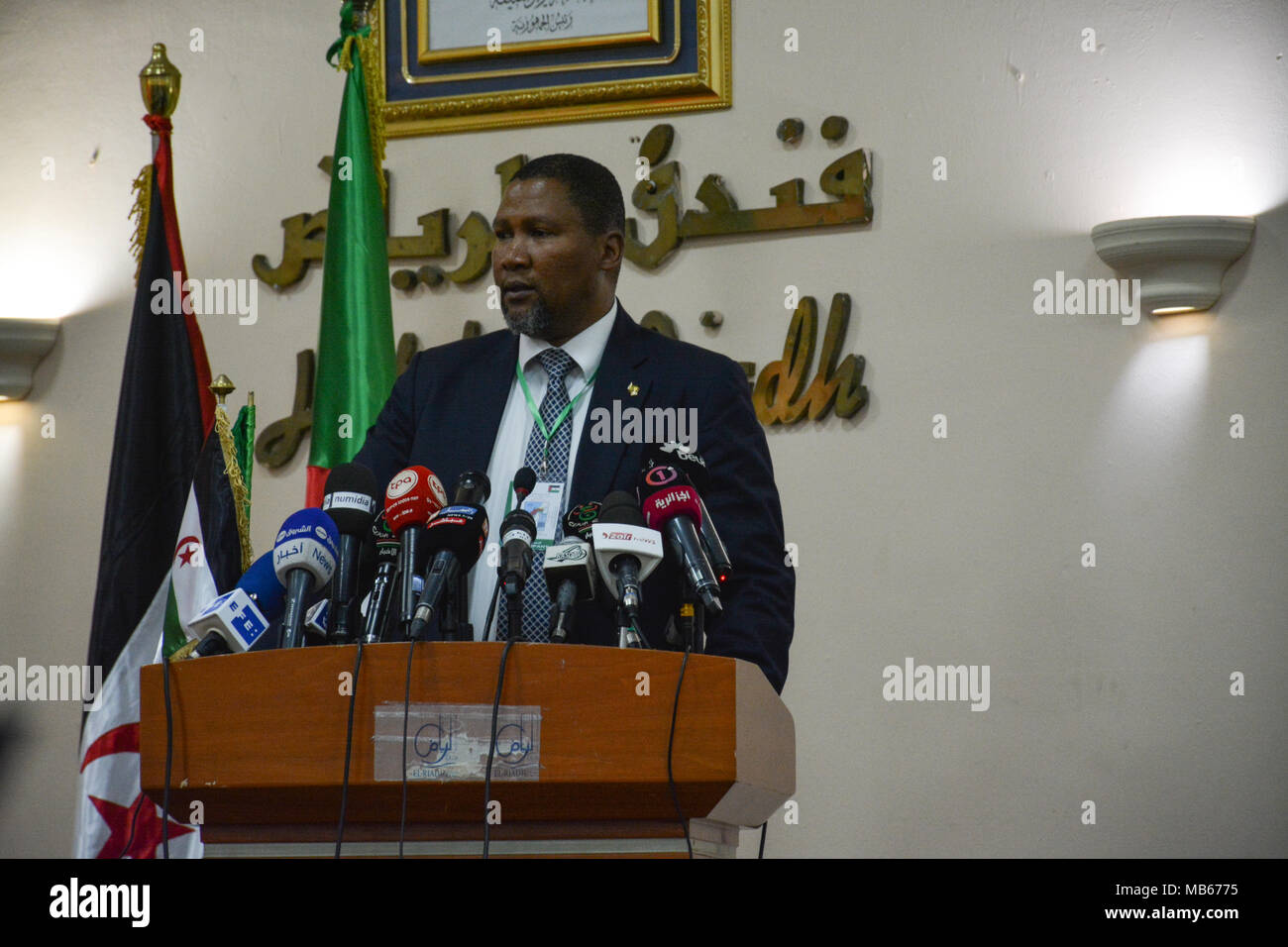 Zwelivelile Mandela, member of the African National Congress (ANC) at the sixth Conference 'Peoples' Right to Resistance: the Case of Sahrawi People' - Stock Image