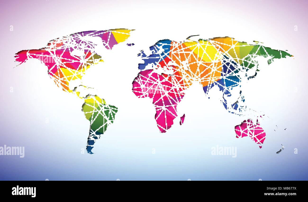 World map design with abstract geometric color background on world map design with abstract geometric color background on environment concept earth illustration with continents vector graphic for banner poster or gumiabroncs Images