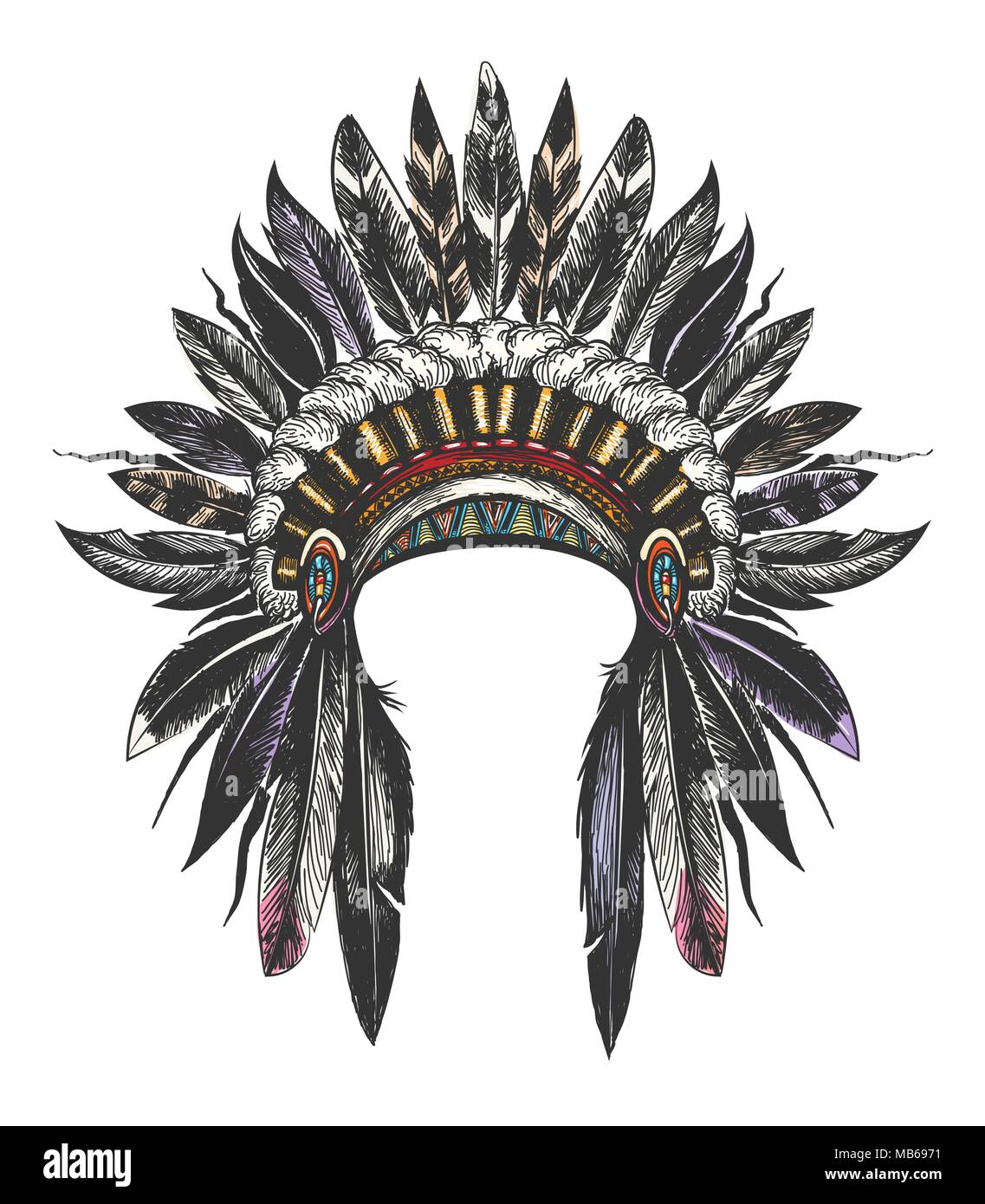 Hand Drawn Colorful Feathered War Bonnet. Vector illustration. - Stock Image