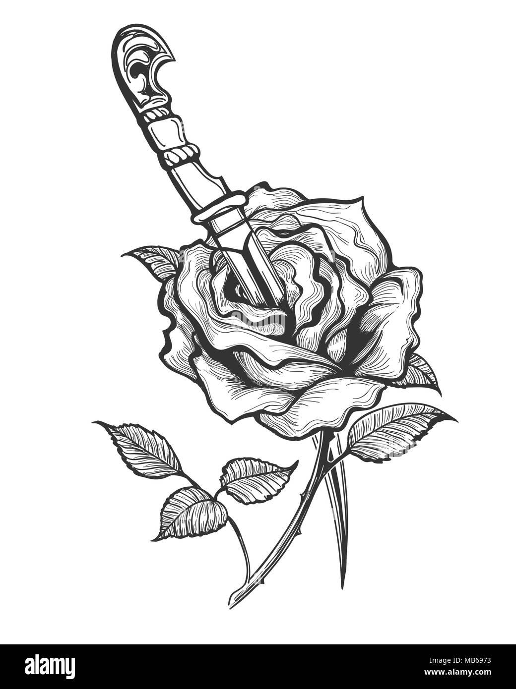 Tattoo of Rose Flower piersed by Dagger. Vector illustration. - Stock Vector