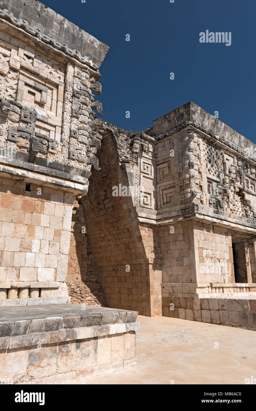 Details of the maya puuc architecture style in the ruins of uxmal, mexico - Stock Image