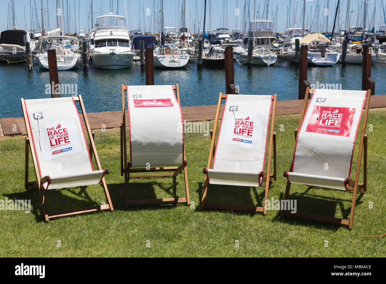 Chairs set out at Freemantle, Perth, Western Australia at a stopover point during the 2017/18 Clipper Round the World Race - Stock Image