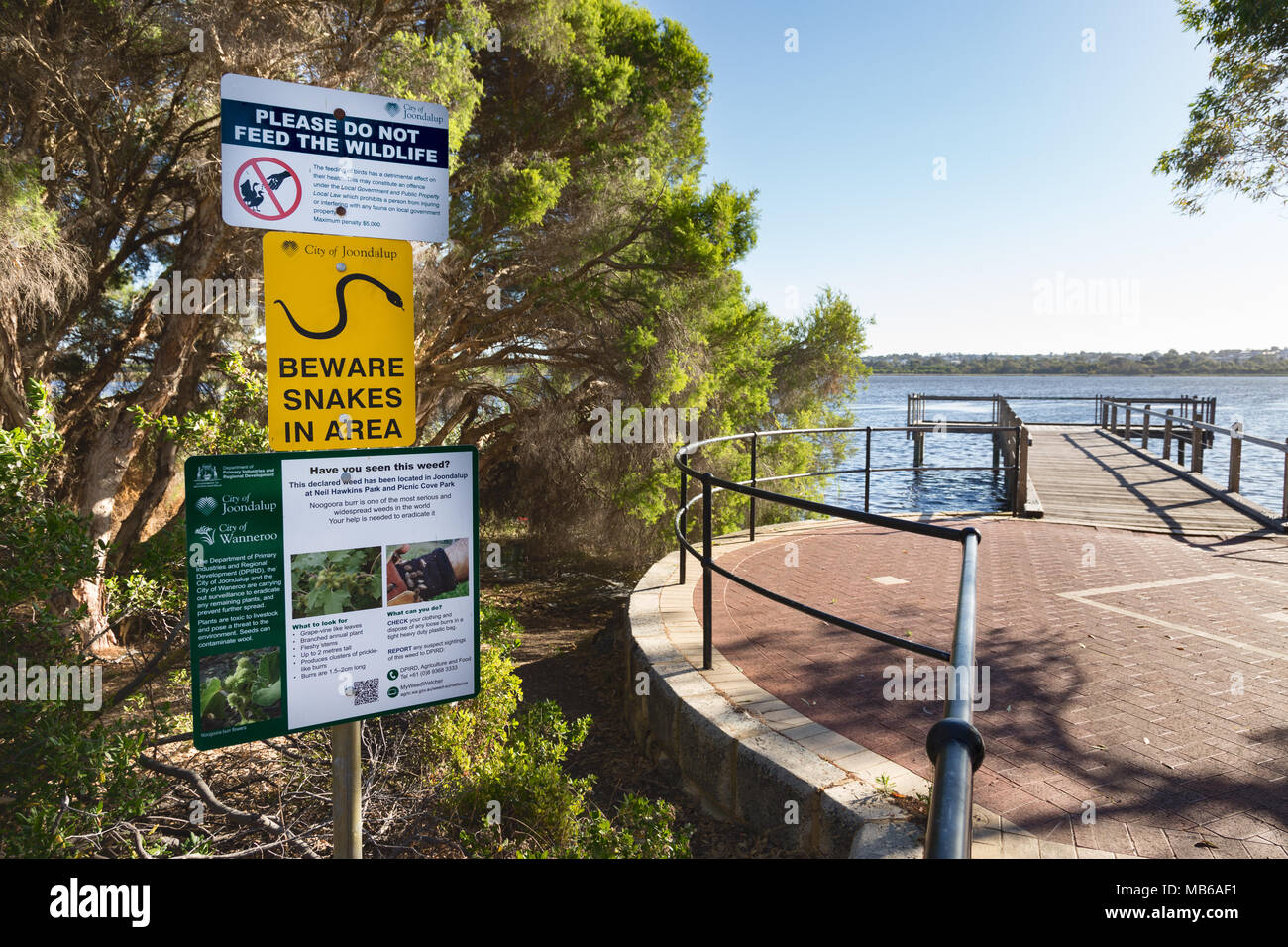 Information boards at Neil Hawkins Park, Lake Joondalup, Yellagonga Regional Park, Perth, Western Australia Stock Photo