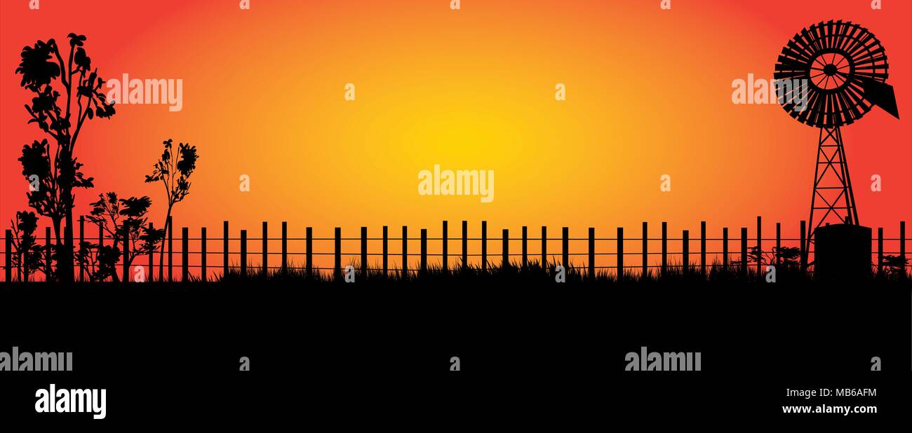 silhouette of wind mill in the outback with bright orange sunset - Stock Vector