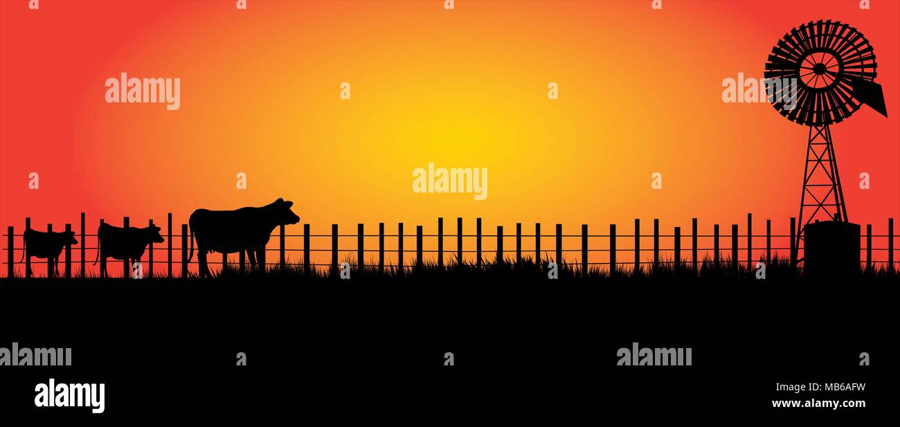 wind mill  in the outback with three cows  coming in for a drink in the evening - Stock Vector