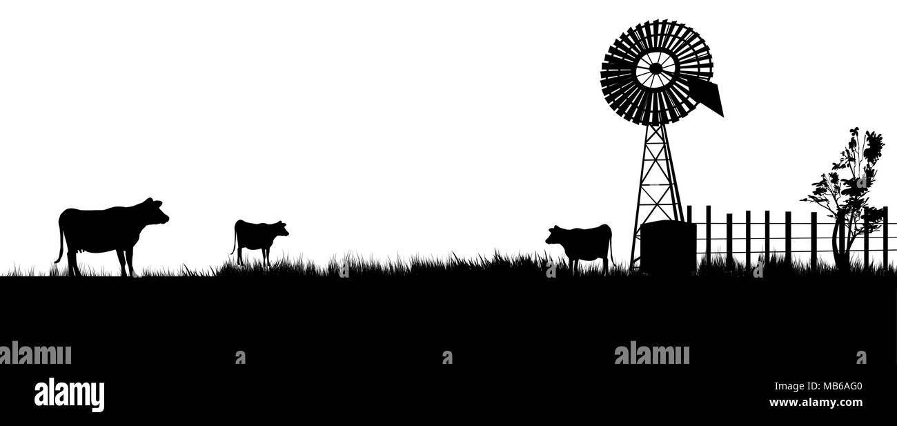 cows walking toward the windmill for a drink. Panarama view - Stock Vector