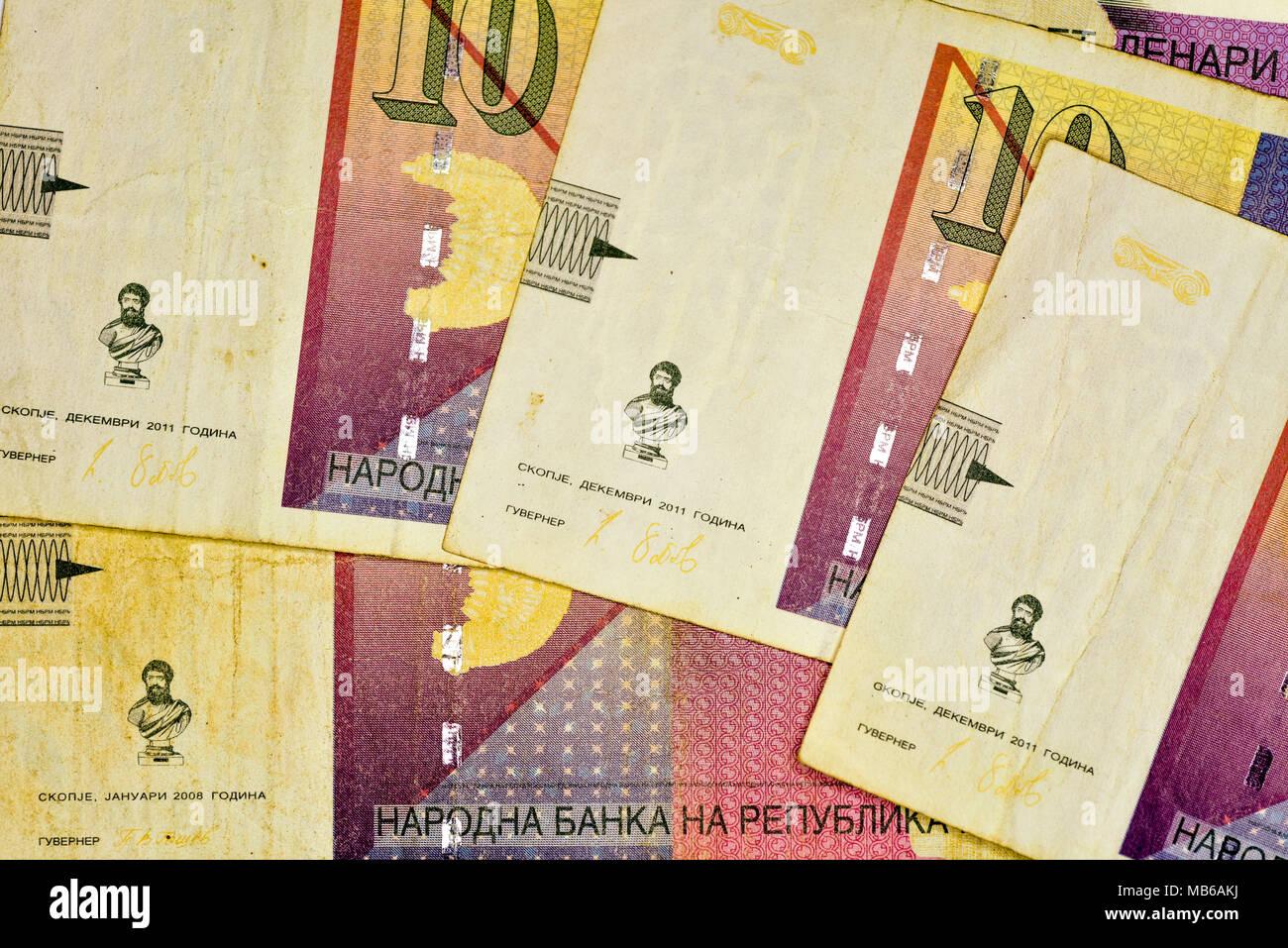 Close-up MACEDONIA CURRENCY, Macedonian denar Bank note - Stock Image