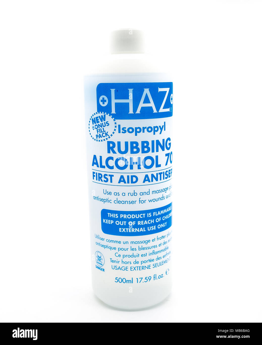 Largs, Scotland, UK - April 06, 2018: Haz Isopropyl 70% Rubbing Alcohol in Recyclable Plastic Bottle and in line with recent UK eco initiatives. - Stock Image