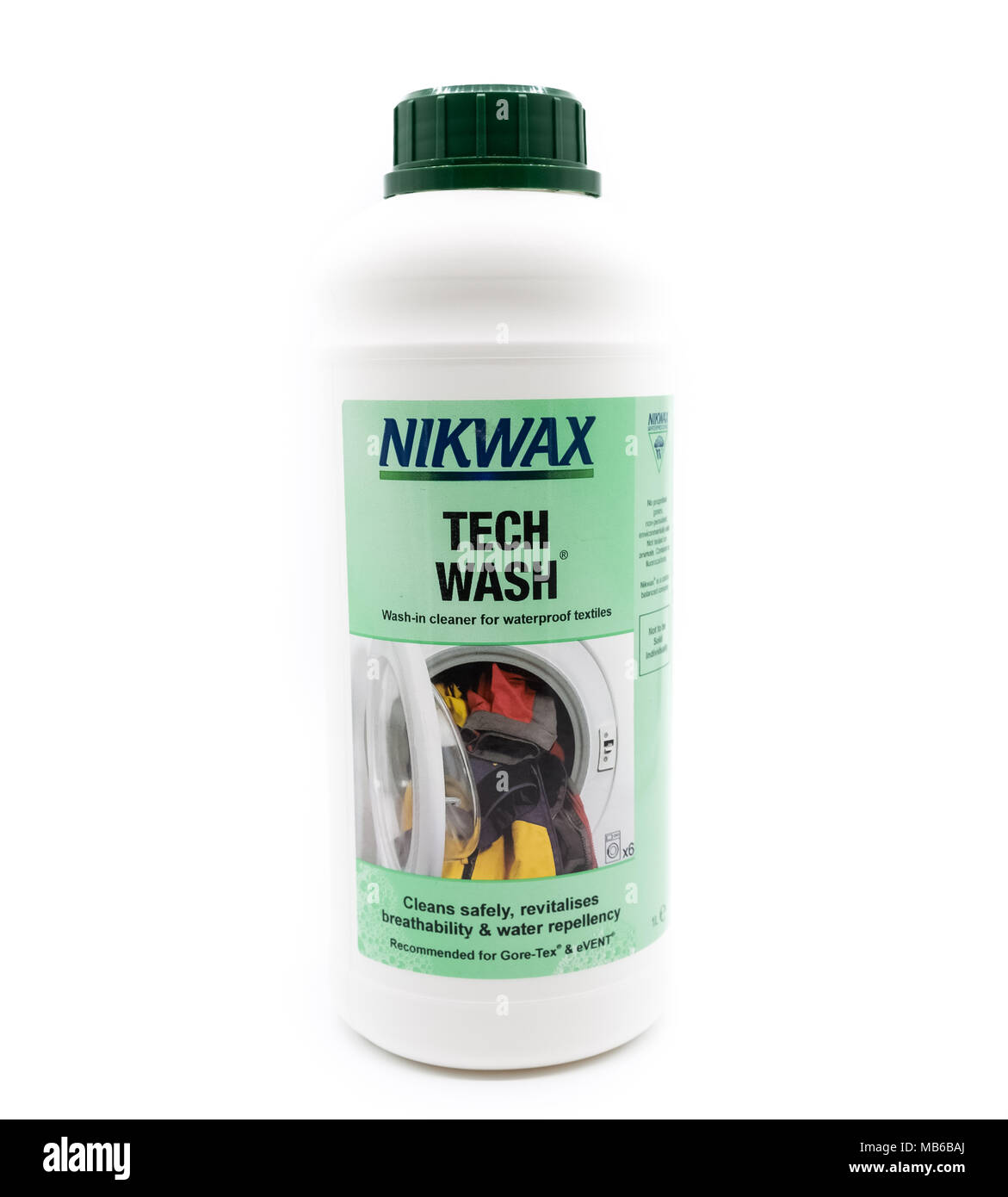 Largs, Scotland, UK - April 06, 2018: NikWax Tech Prewash in Recyclable Plastic Bottle and in line with recent UK eco initiatives - Stock Image