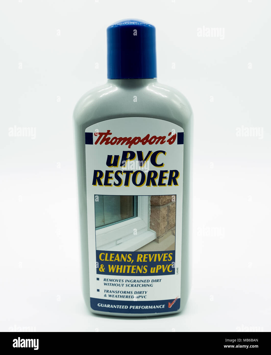 Largs, Scotland, UK - April 06, 2018: Thompson's uPVC restorer in a recyclable plastic bottle in line with UK eco initiatives - Stock Image