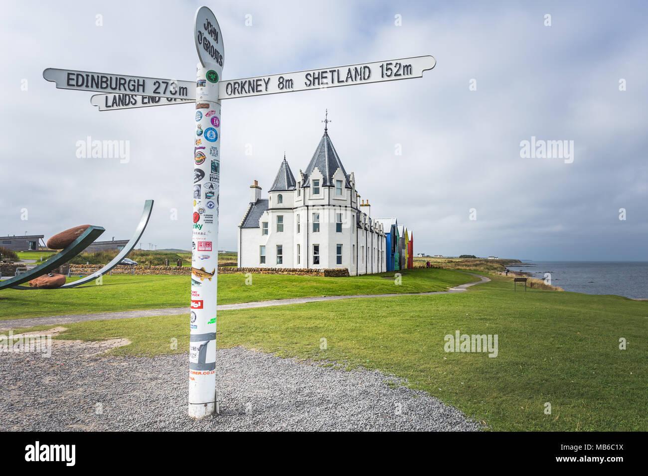 John o groats signpost, Scotland, Great Britain Stock Photo