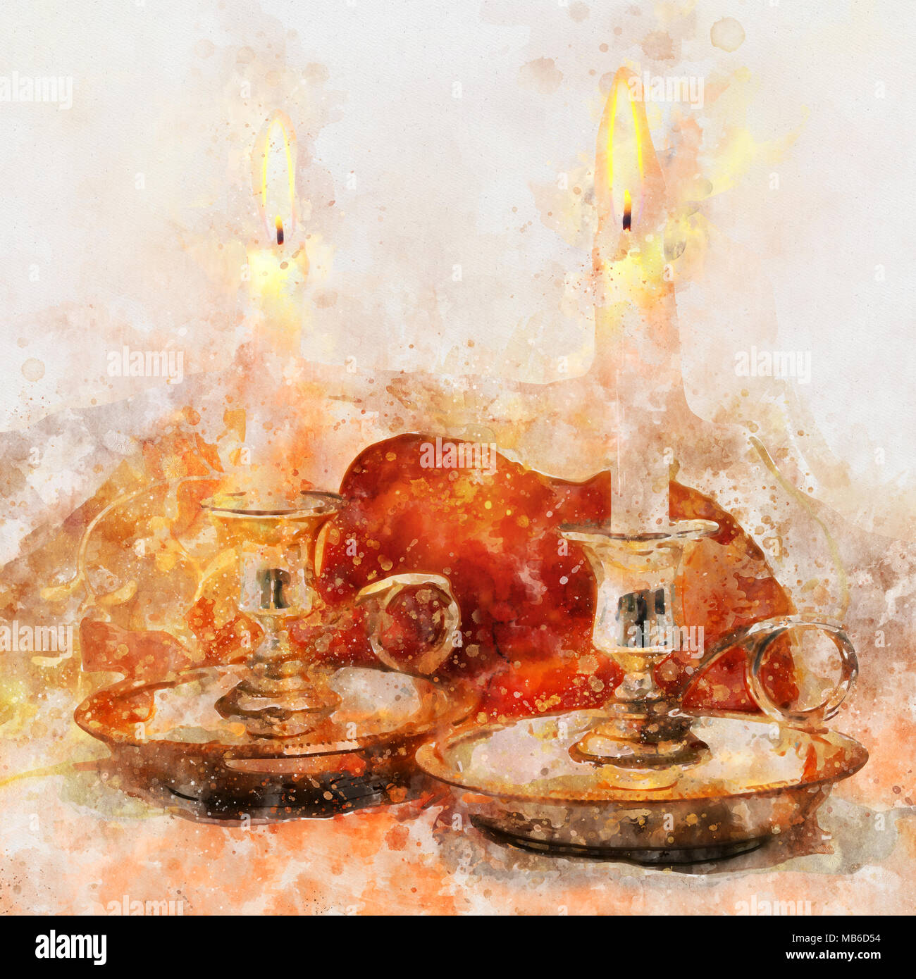 watercolor style and abstract image of shabbat. challah bread and candles on the table - Stock Image