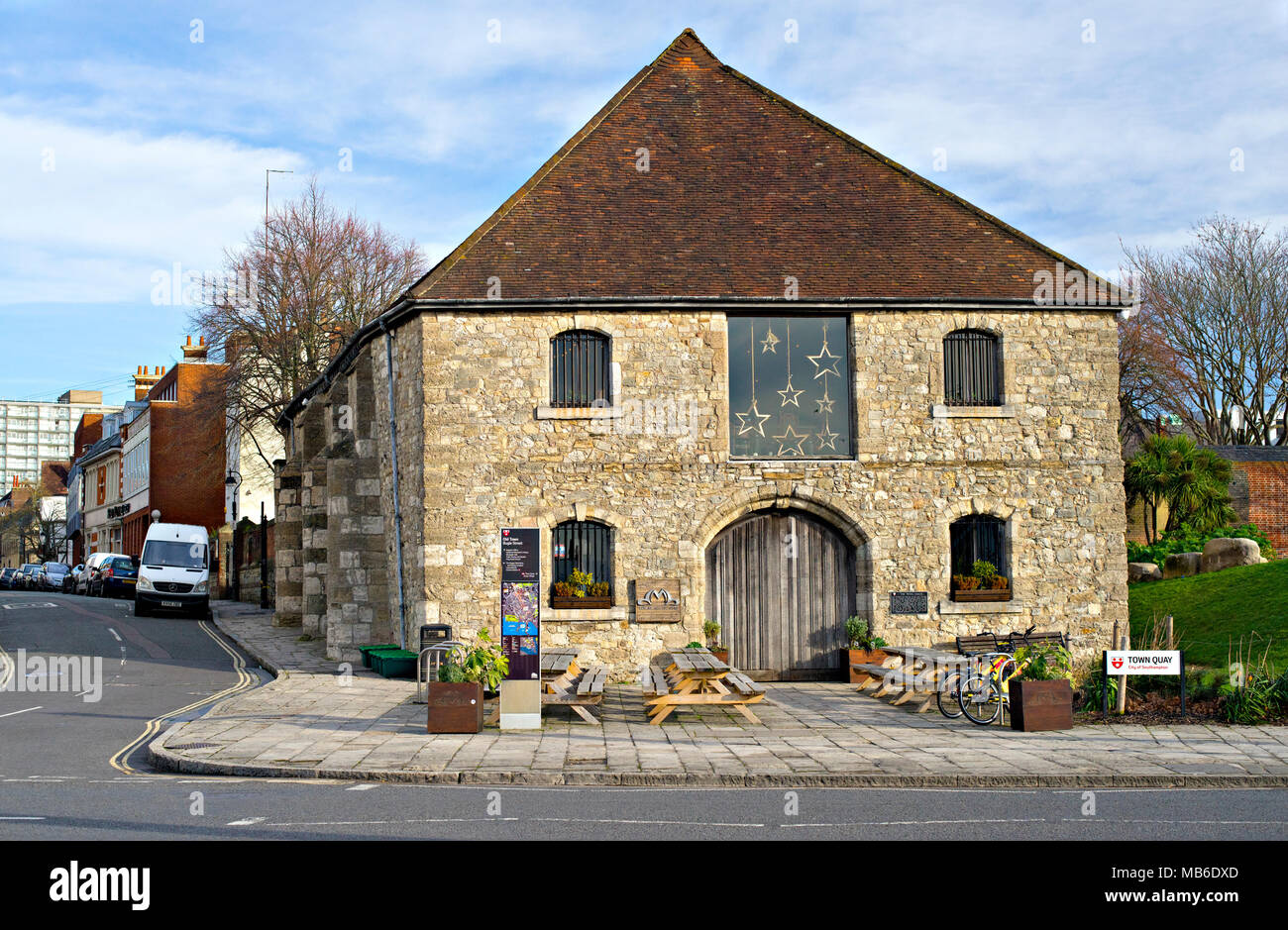 The mediaeval Wool House near the Town Quay in Southampton, England, was built in the 14th Century to store wool prior for export to Europe. - Stock Image
