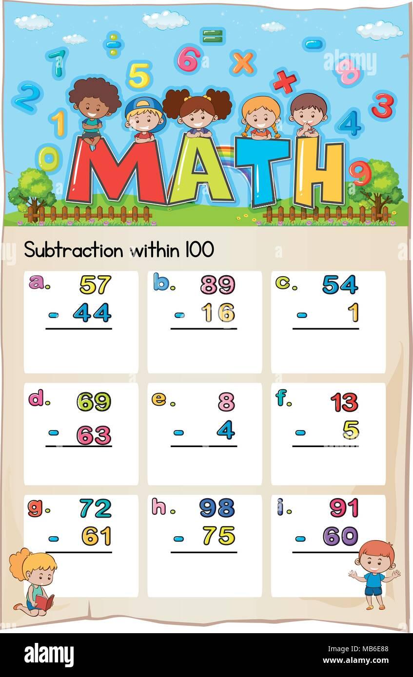Math worksheet for subtraction within hundred illustration - Stock Vector