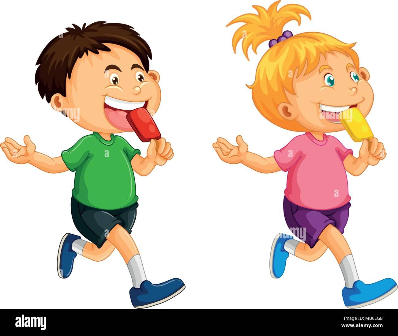 Boy and girl eating popsicle illustration Stock Vector Art ...