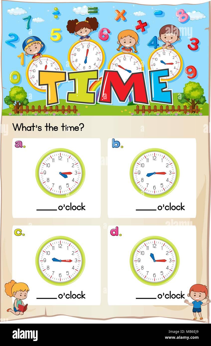 Worksheet template for telling time illustration - Stock Vector