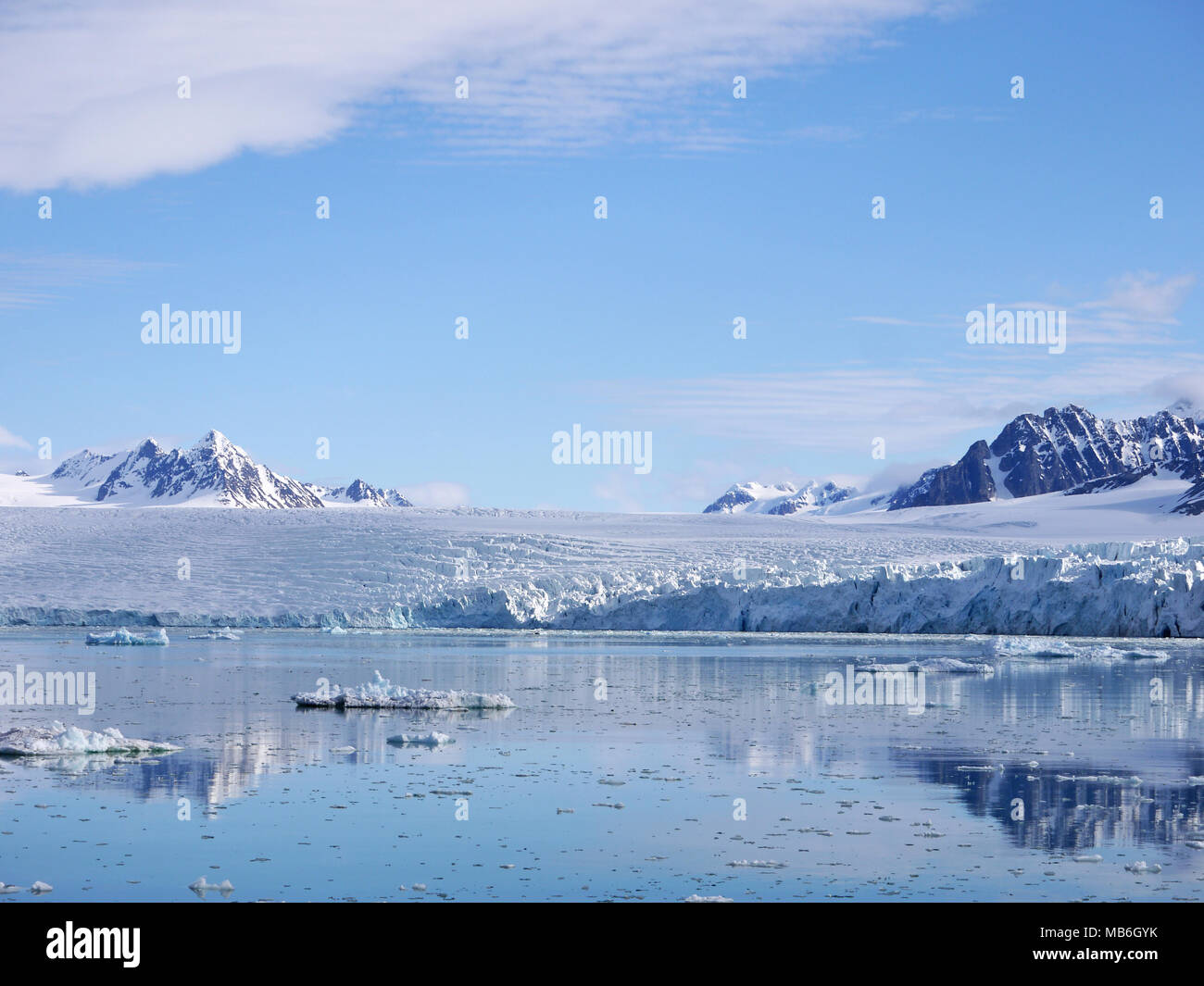 Krossfjorden is a 30km long fjord on the west coast of the Spitsbergen archipelago Svalbard Norway Stock Photo