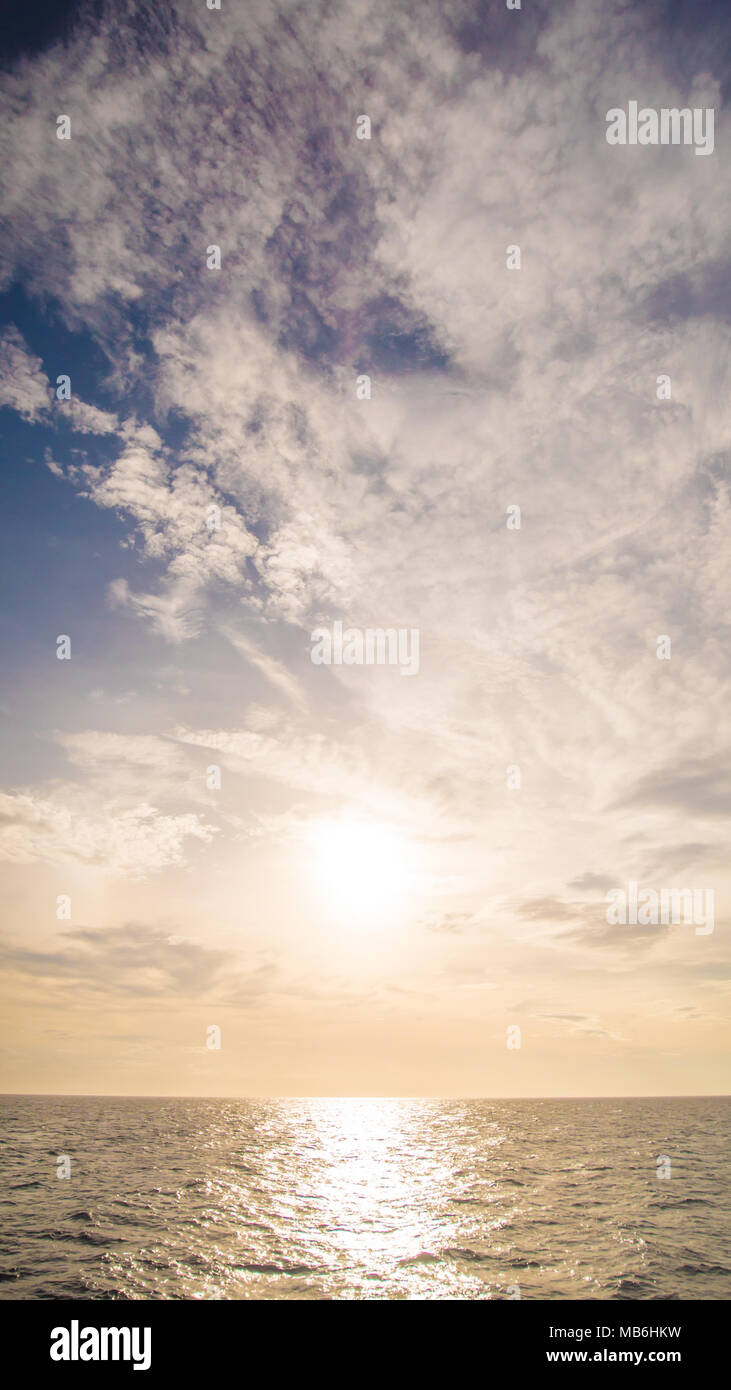 The view of the sea of the Palawan Islands in the rays of the sunset. A fascinating beauty. Shooting from the ferry. Philippines. - Stock Image