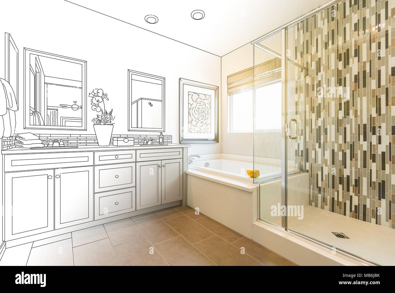 Custom Master Bathroom Design Drawing Gradating to Finished Photo ...