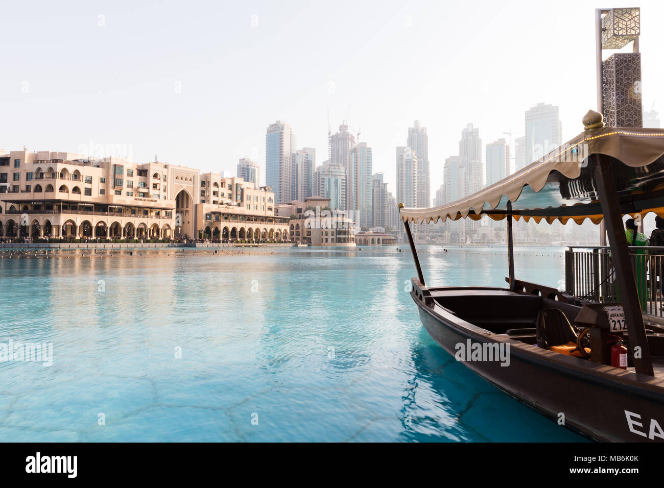 Dubai, United Arab Emirates, March 27th 2018: Calm day near the dancing fountain of Dubai - Stock Image