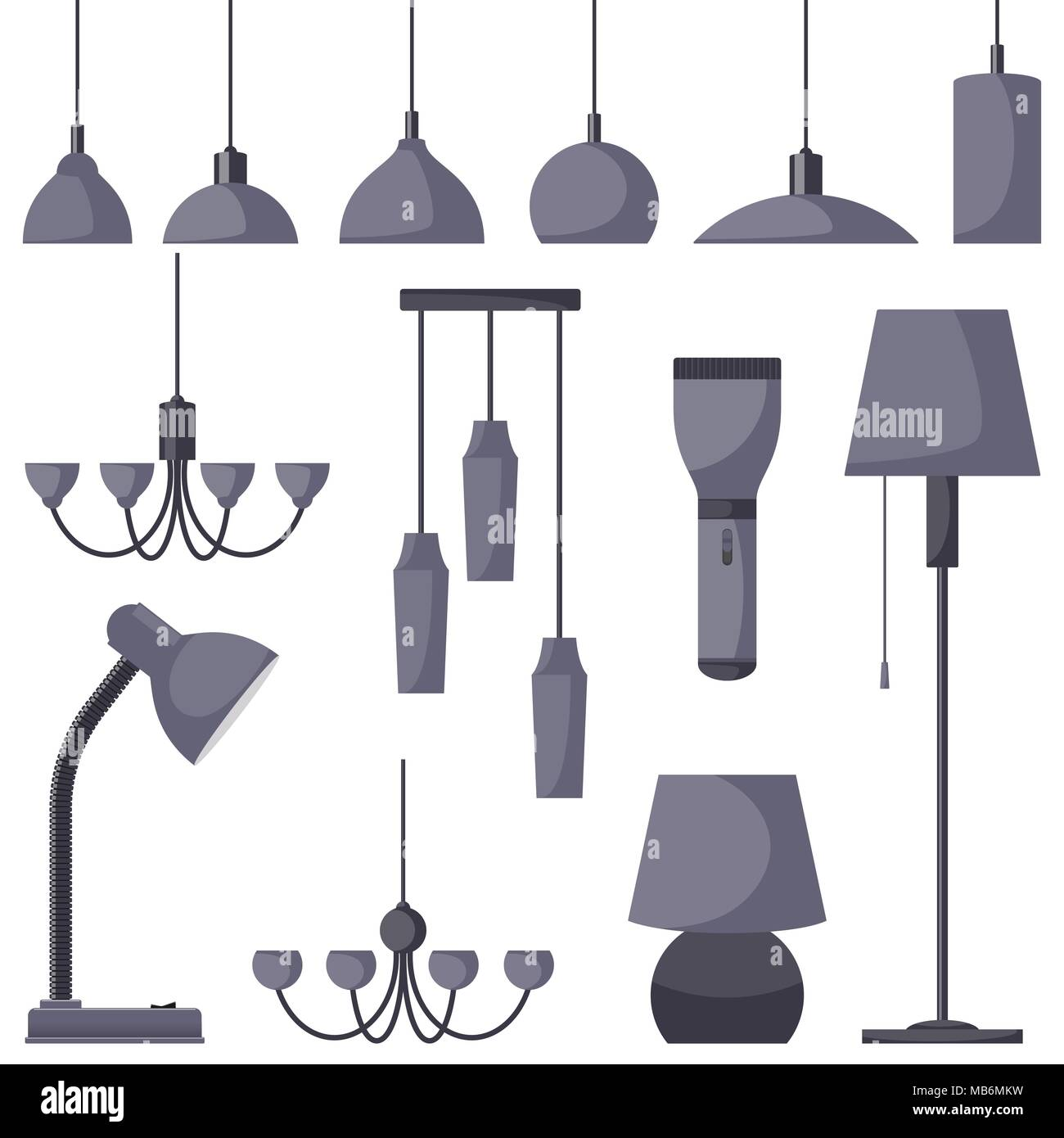 Lamps of different types set chandeliers lamps bulbs table lamp lamps of different types set chandeliers lamps bulbs table lamp flashlight floor lamp elements of modern interior vector illustration in fla aloadofball Image collections
