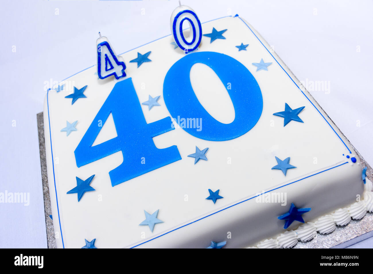 40th White Birthday Cake With Blue Decorations