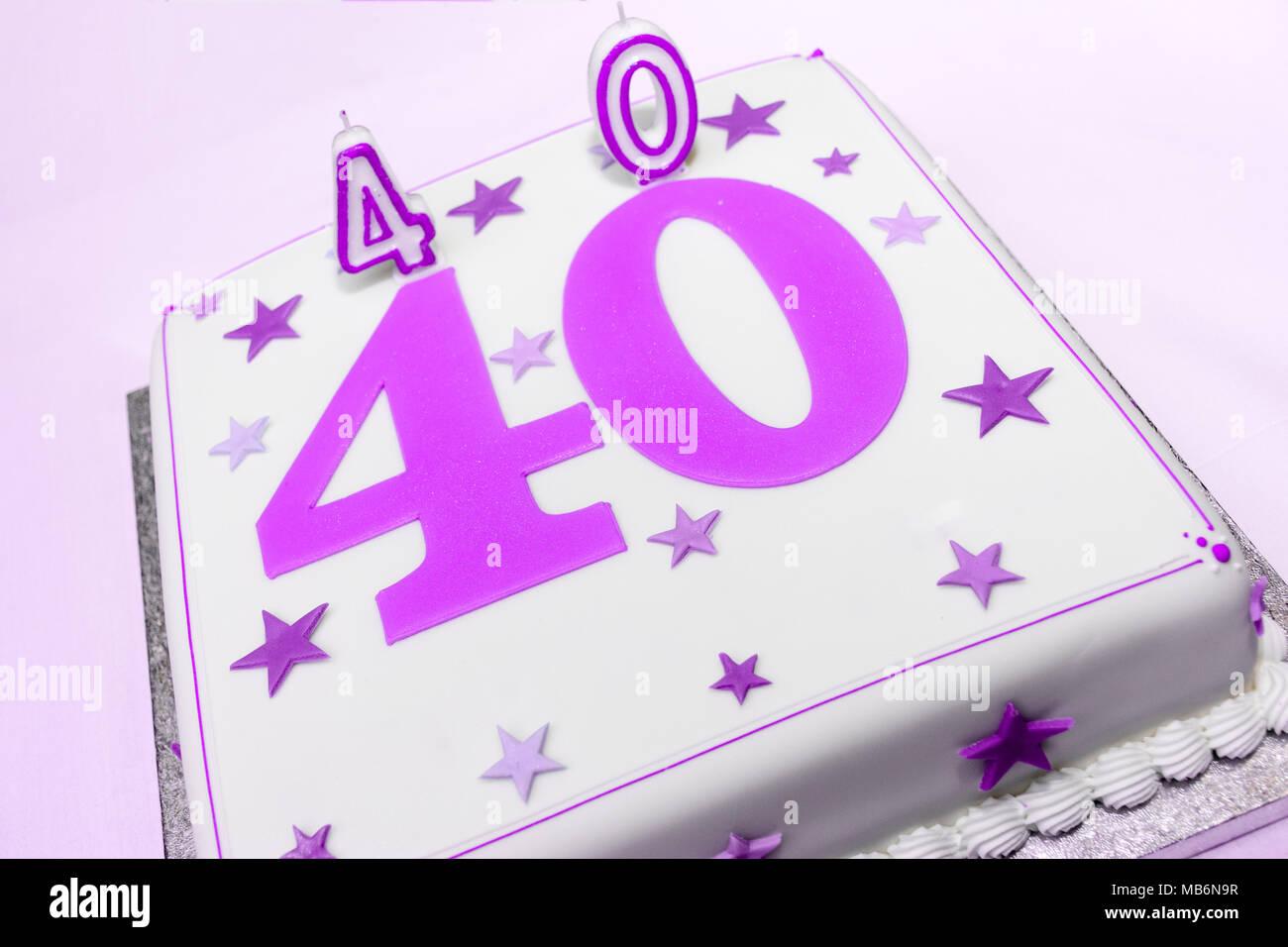 Astonishing 40Th White Birthday Cake With Pink Purple Decorations Stock Personalised Birthday Cards Arneslily Jamesorg