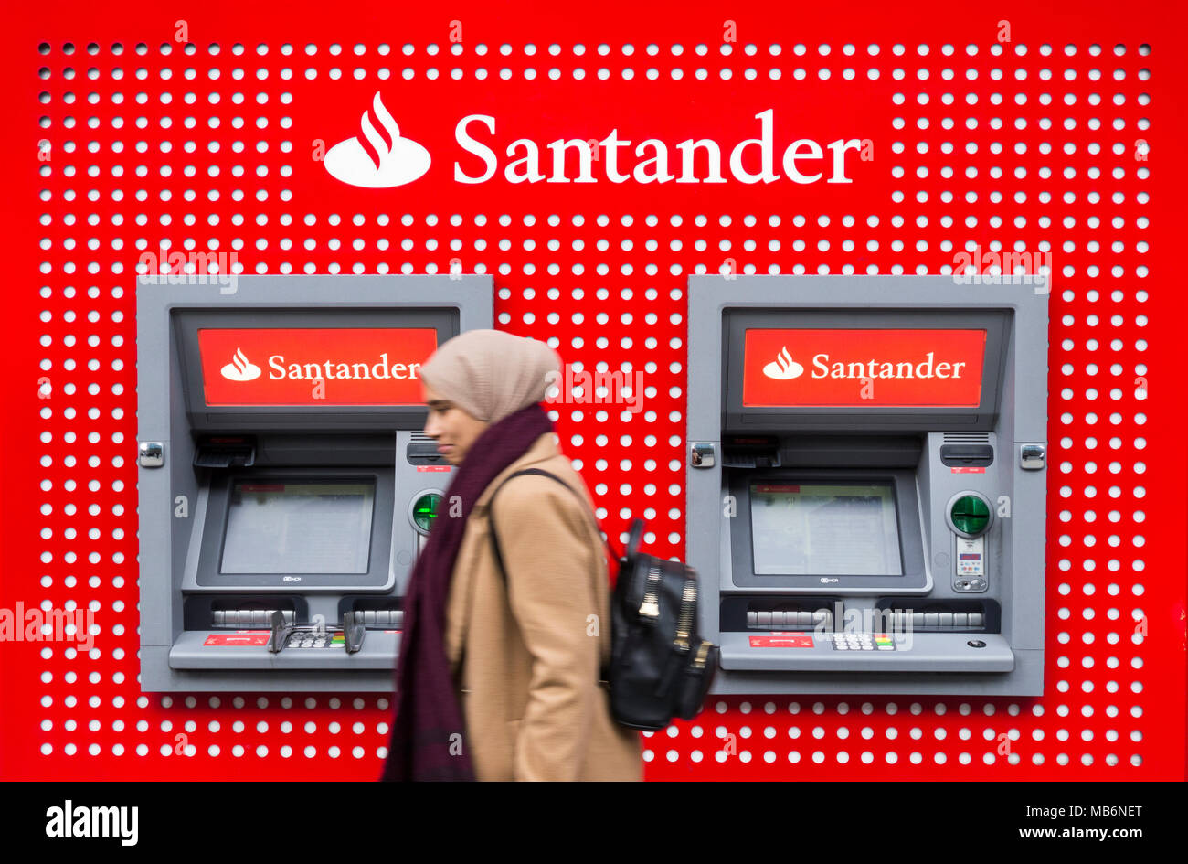 ATMs outside the Santander Bank, Tottenham Court Road branch