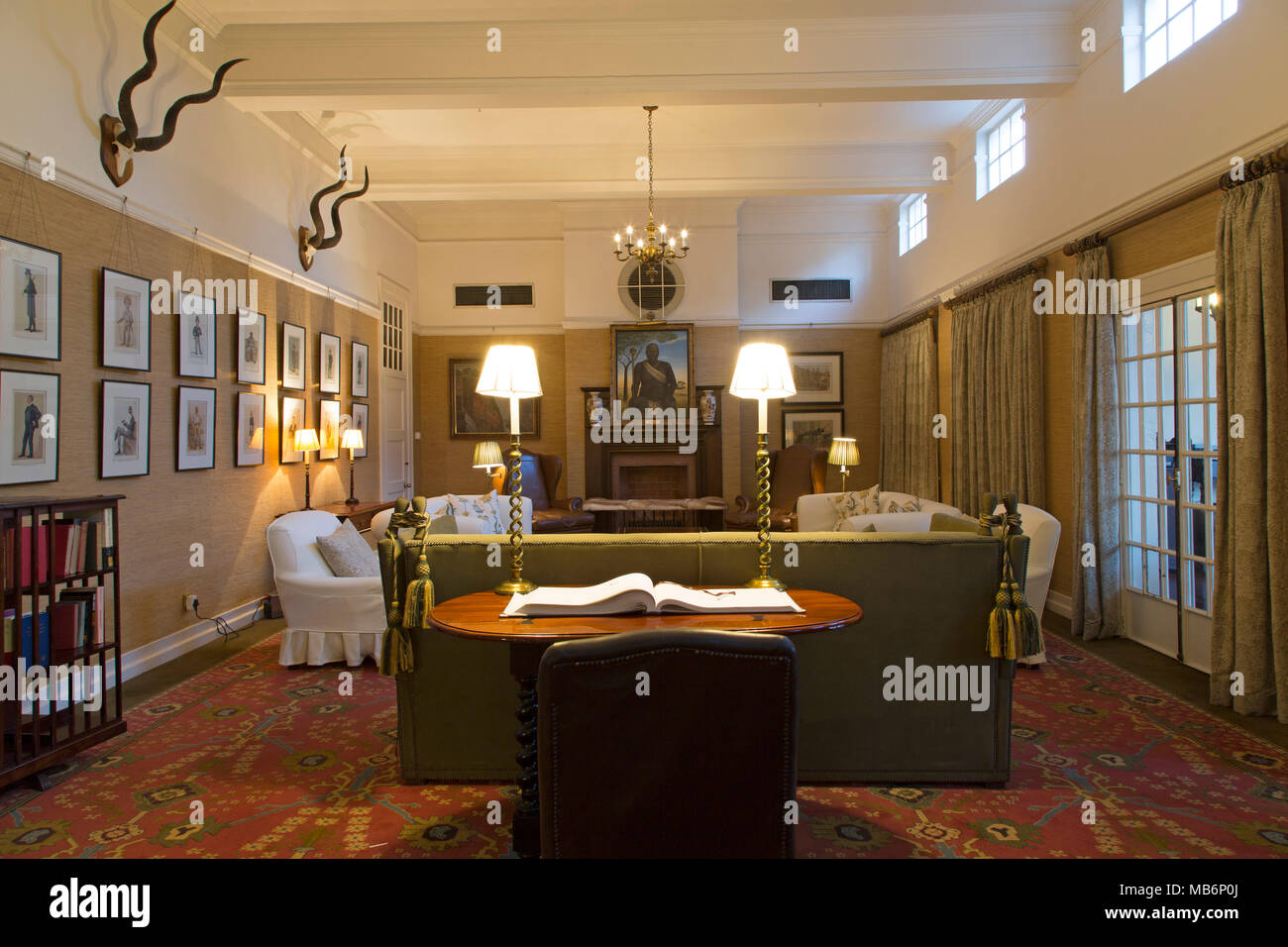 The Bulawayo Room At The Victoria Falls Hotel At Victoria Falls, Zimbabwe.  The Luxury Hotel Opened In 1905 And Has Colonial Style Interiors.