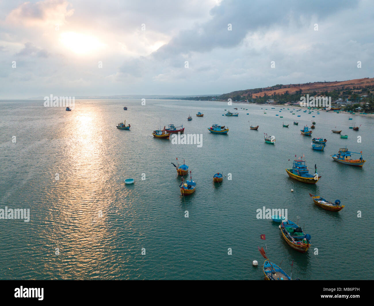 Top view. Aerial view fishing harbour market from drone. Royalty high quality free stock image of market at Mui Ne fishing harbour or fishing village Stock Photo