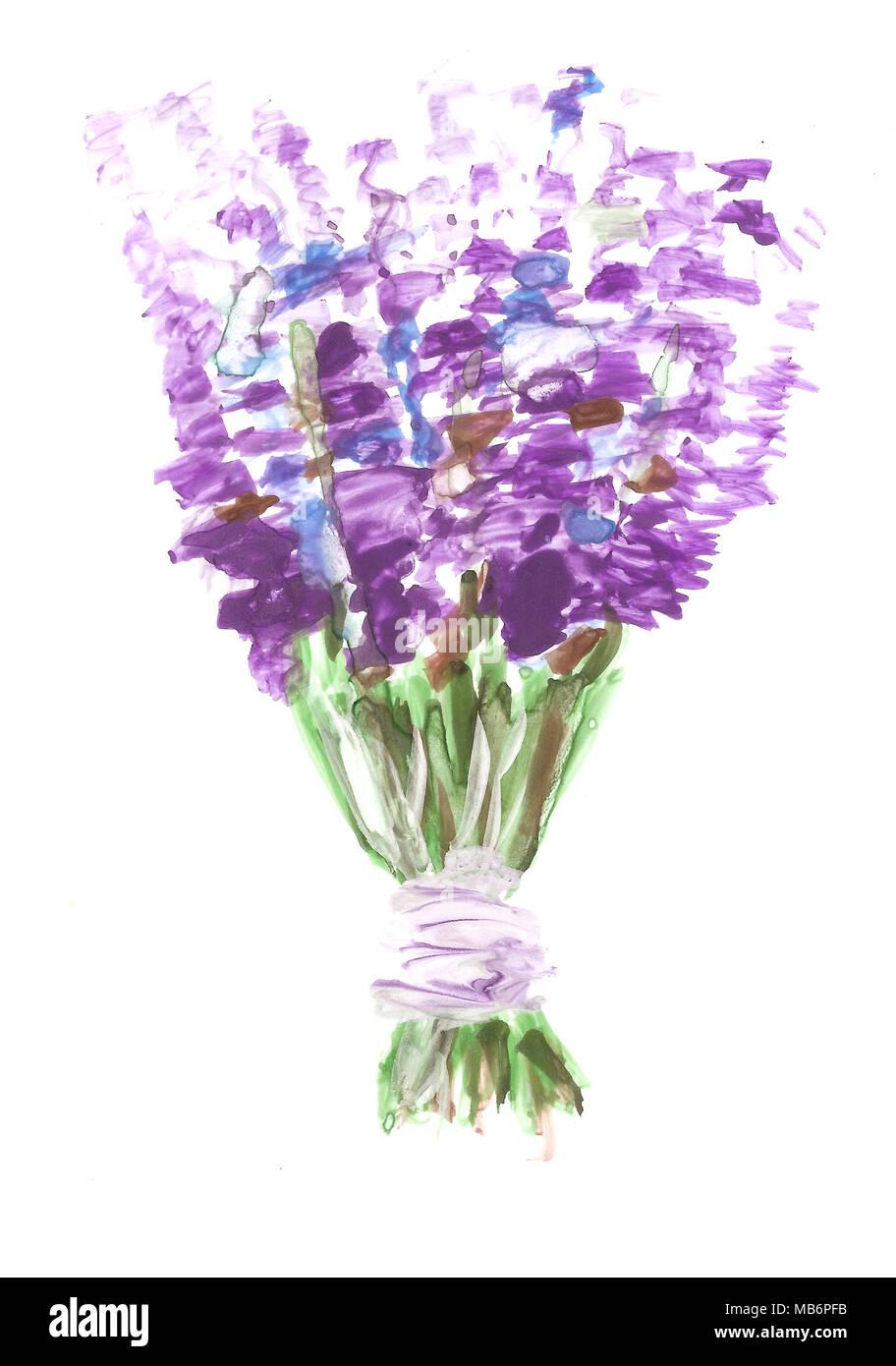 Handmade Watercolor Lavender Bouquet Stock Photo Alamy