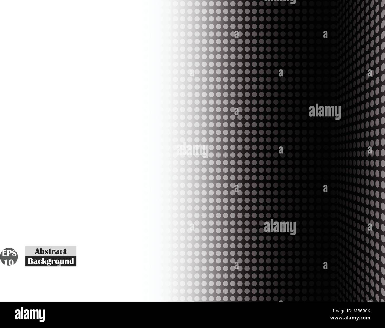 Abstract of side halftone black dot of right empty perspective, simple presentation with gradient for business presentation. Vector illustration eps10 - Stock Image