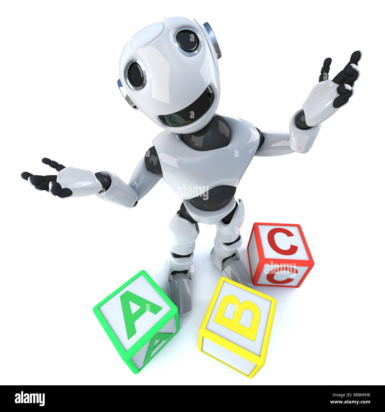 3d render of a funny cartoon robot android using alphabet