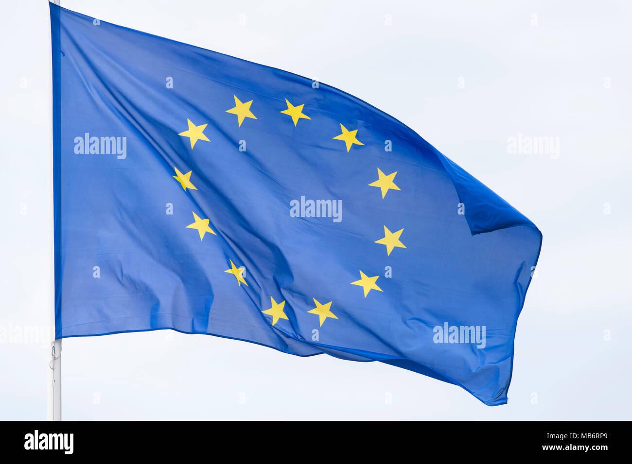 European Union (EU) flag flying in the wind. Stock Photo