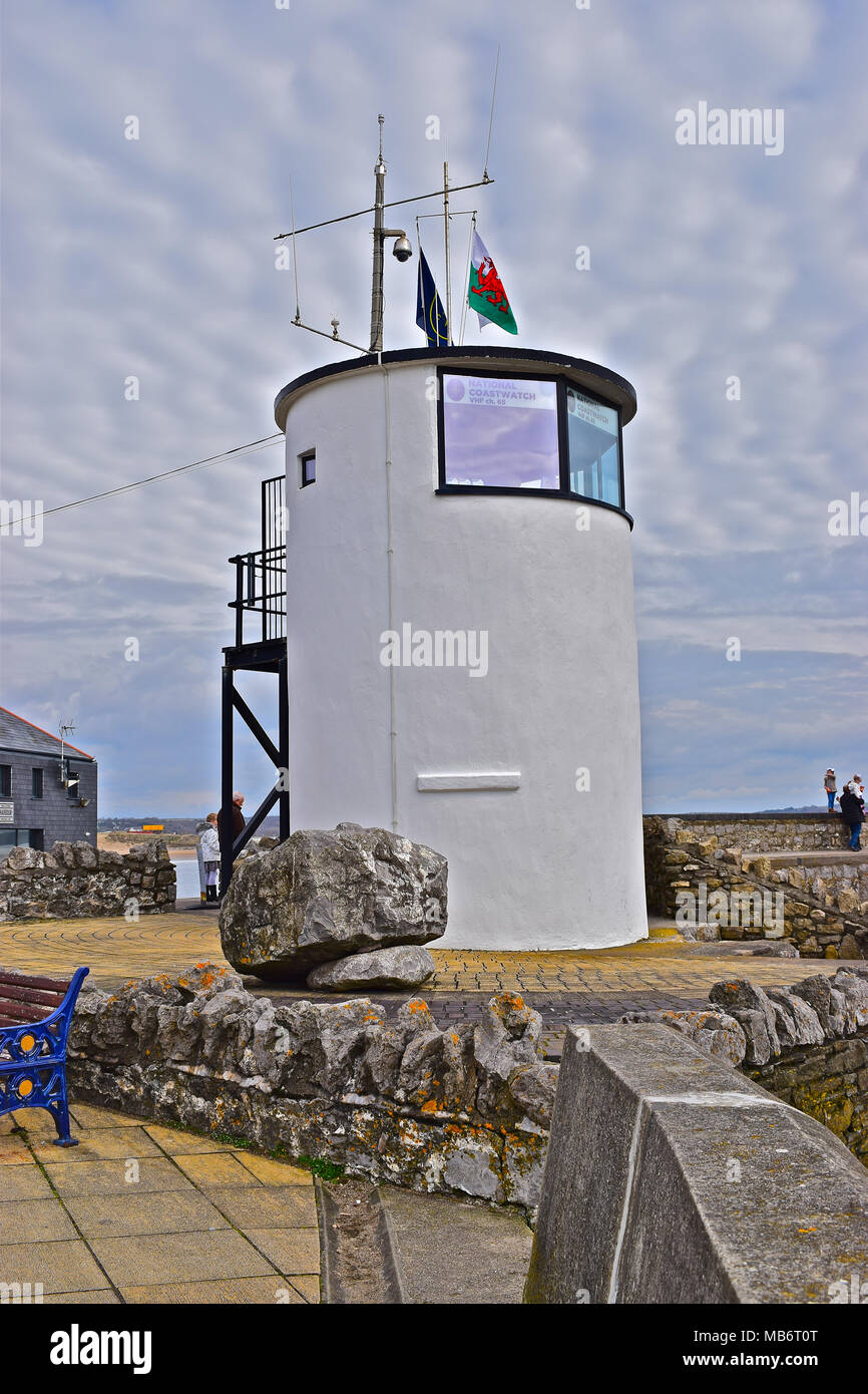 The Porthcawl Coastguard look-out point was originally the old Victorian Pilot Lookout dating from 1870 and is now a Grade II Listed Building. - Stock Image