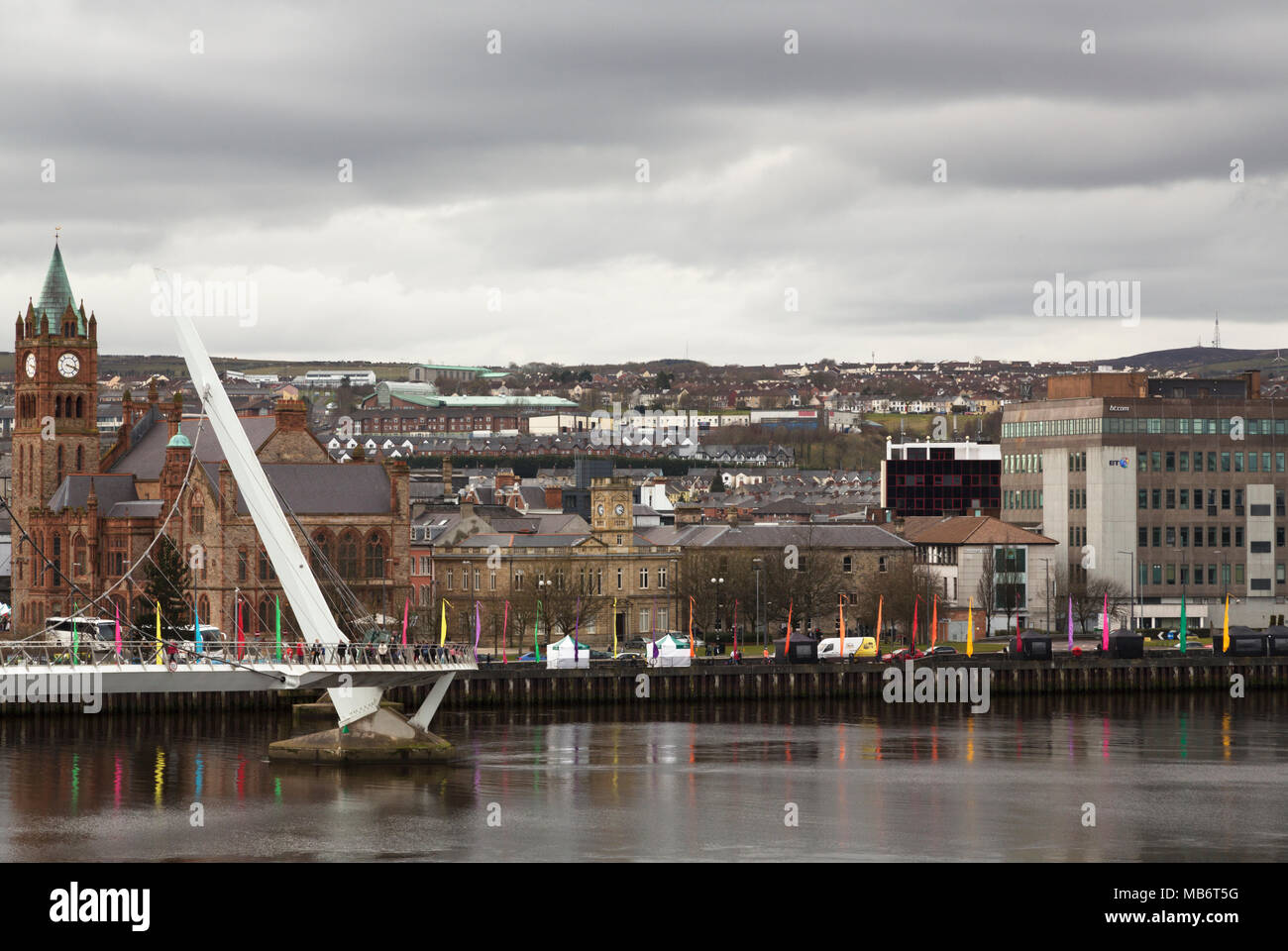 The Peace Bridge and Guildhall, Derry/Londonderry, Northern Ireland - Stock Image