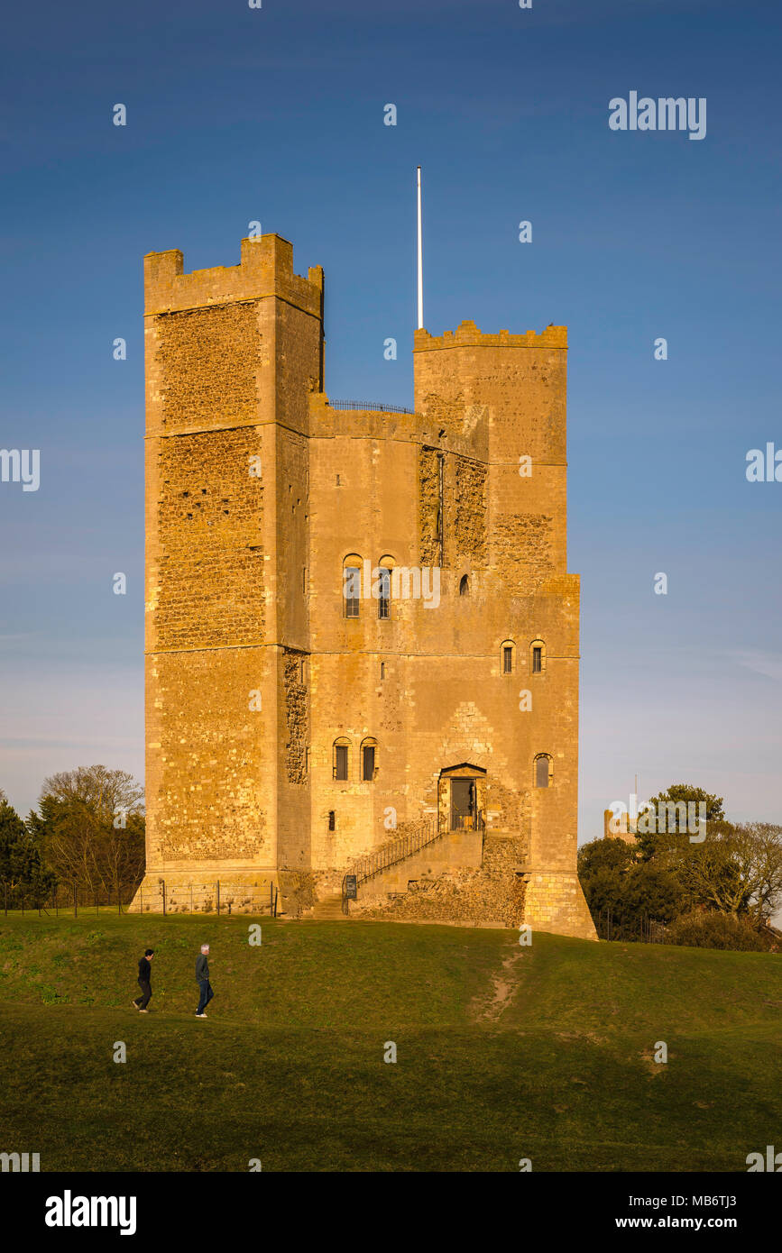 Orford Castle Suffolk, view at sunset of the well preserved 12th Century castle keep managed by The National Trust in Orford, Suffolk, England, UK - Stock Image