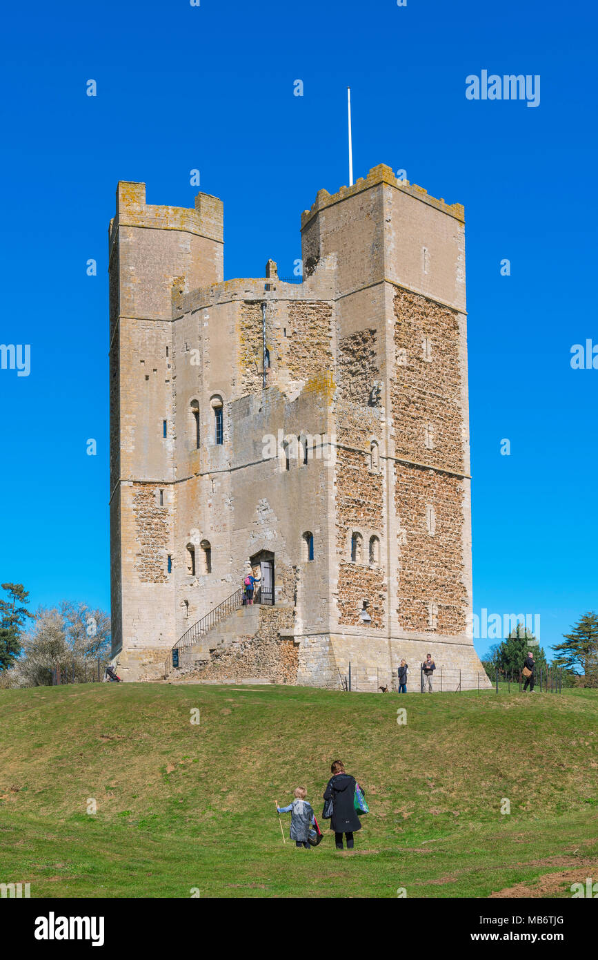 Orford Suffolk castle, the well preserved 12th Century castle keep managed by The National Trust in Orford, Suffolk, England, UK - Stock Image