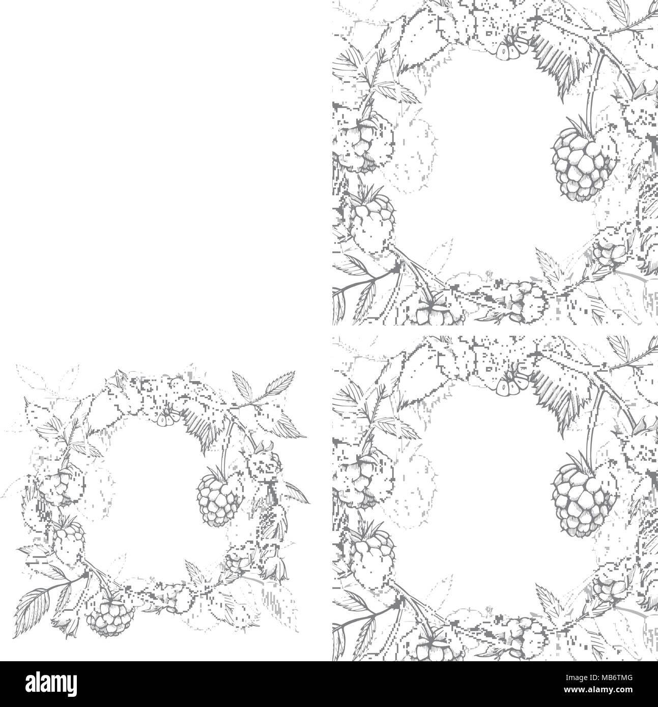 Hand Drawn Raspberry Retro Sketch Style Vector Illustration
