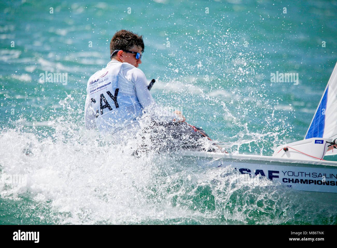 Cayman IslandsLaser RadialMenHelmCAYPB1PabloBertran Day3, 2015 Youth Sailing World Championships, Langkawi, Malaysia - Stock Image