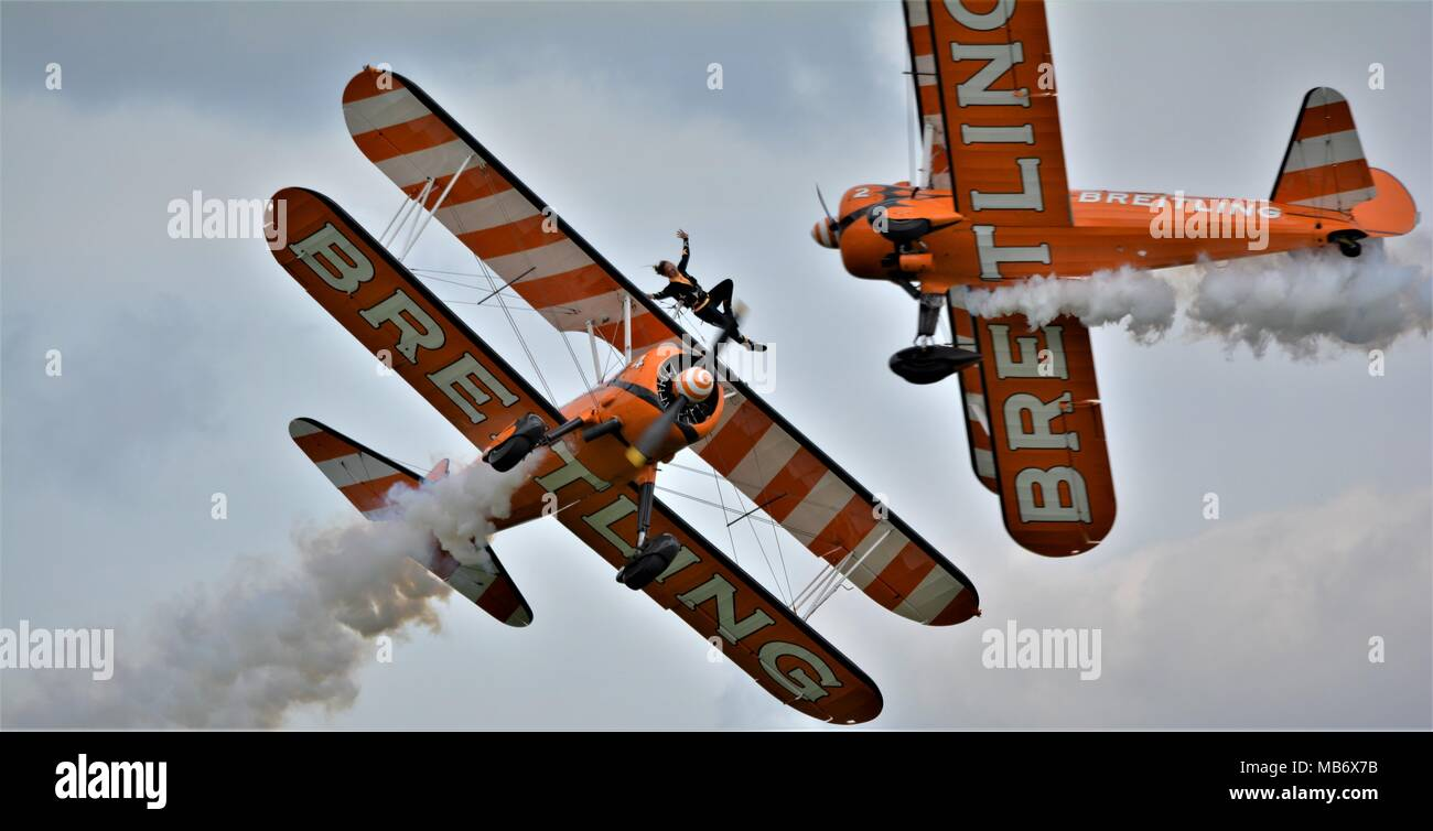Bristling wing walkers Steadman bi planes at airshows - Stock Image