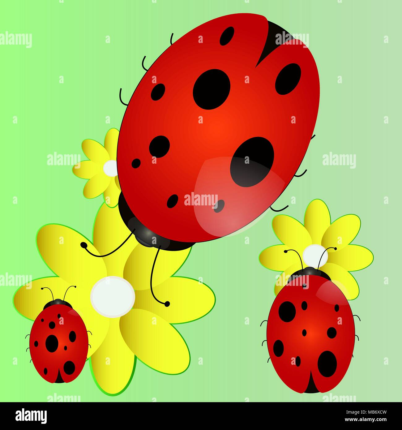 A Cartoon Ladybug a ladybird, a cartoon character, an insect stock vector art